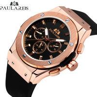 PAULAREIS メンズ 腕時計 ウォッチ レザー ラバー カジュアル スポーツ ビジネス 男性用(kk04532)