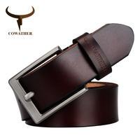 COWATHER メンズ 牛本革 クラシックピンバックルストラップ ソリッドファッション スムース調整可能 ブラックブラウン コーヒーギフトラップ/COFFEE(mk00522)