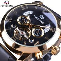FORSINING 腕時計 メンズ 自動巻き トゥールビヨン 機械式 レザーバンド 本革 ファッション ビジネス ウォッチ 男性(kk04546)