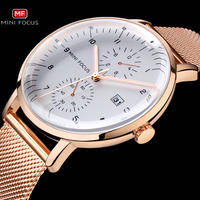 MINIFOCUS メンズ 腕時計 ウォッチ クォーツ 超薄型 メッシュ ストラップ 防水 カレンダー 男性用 シンプル カジュアル ビジネス 箱付き(kk04567)