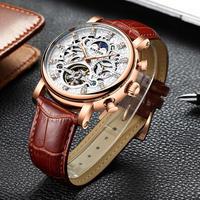 メンズ 腕時計 スケルトン 自動機械式 ファッション 防水 革 レザー ウォッチ(kk04502)