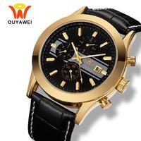 OUYAWEI メンズ 腕時計 ウォッチ 自動巻き 機械式 ラグジュアリーゴールドケース カレンダー 防水 男性用 ファッション カジュアル ビジネス(kk04577)