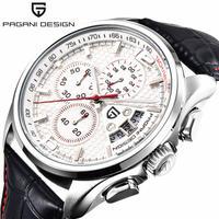PAGANI DESIGN メンズ 腕時計 クロノグラフ レザー ウォッチ アナログ付き 防水 クォーツ 通勤 通学 ビジネス(kk04642)