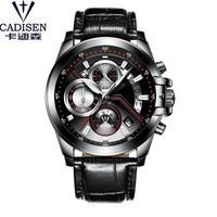 CADISEN メンズ 腕時計 ウォッチ クォーツ 軍事 防水 クロノグラフ スポーツ カレンダー 多機能 男性用 ビジネス カジュアル ファッション レザーベルト(kk04681)