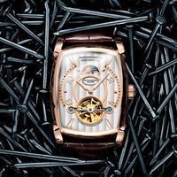 Guanqin メンズ 腕時計 機械式 自動巻  クロノグラフ トノー型 スケルトン 通勤 通学 ウォッチ(kk04581)