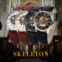 SEWOR メンズ スケルトン腕時計 機械式腕時計 透明時計 トランスペアレント時計 レザー腕時計 黒革腕時計 メンズ機械式時計 ビジネス カジュアル 男性用 モントレオム(mk00247)