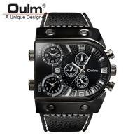 腕時計  メンズ  クオーツ  レザーバンド アナログ Oulm ブラック  ( kk04021)