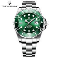 2019パガニデザイン100メートル防水ビジネス高級男性機械式時計ステンレス鋼レロジオMasculino Steel Green