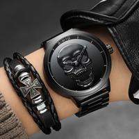 GIMTO メンズ 腕時計 クールパンク 3Dスカルデザイン ユニセックス 防水 レトロファッション カジュアル クール ウォッチ(kk04570)