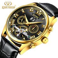 KINYUED 腕時計 メンズ 自動巻き トゥールビヨン 機械式 レザー ゴールド ビジネス カジュアル シック(kk04545)