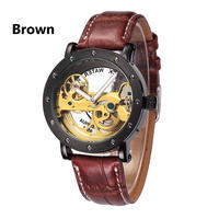 SHENHUA メンズ腕時計 自動機械式腕時計 スケルトン時計 レザーバンド 革 レロジオ 防水 男性用 ビジネス腕時計 カジュアル ファッション(kk04199)