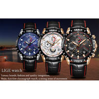 LIGE メンズ 腕時計 ウォッチ クロノグラフ クォーツ 防水 ルミナスハンズ レザーベルト スポーツ レロジオ ビジネス 海外ブランド 男性用(kk04513)