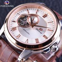 FORSINING メンズ 腕時計 自動巻き 機械式 レザー 防水 ビジネス 通勤 通学 カジュアル ゴールド(kk04693)