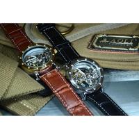 TIEDAN メンズ 腕時計 ウォッチ 自動巻き 機械式 スケルトン トゥールビヨン レザーバンド 男性用 ファッション カジュアル(kk04547)