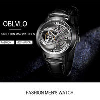 OBLVLO メンズ 腕時計 ウォッチ トゥールビヨン HWスタイル スケルトン 本革 通勤 通学 カジュアル (kk04628)