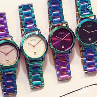 GUOU レディース 腕時計 ウォッチ クォーツ 防水 カラフル ステンレスバンド 女性用 ファッションウォッチ カジュアル 海外人気モデル レロジオ(kk04542)