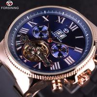 FORSINING メンズ 腕時計 ウォッチ 自動巻き 機械式 カレンダー トゥールビヨン ラグジュアリー pvcバンド 男性用 ファッション カジュアル ビジネス(kk04717)