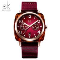 Shengke レディース 腕時計 女性用 ナイロンベルト ウォッチ シェルケース 腕時計 レロジオ 通勤 通学 ビジネス カジュアル(kk04699)
