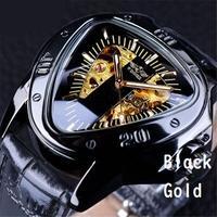 T-WINNER メンズ 腕時計 レザー 機械式 三角 スケルトン 通勤 通学 ウォッチ カジュアル(kk04606)