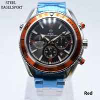 STEELBAGELSPORT メンズ 腕時計 ウォッチ 自動巻き 機械式 クロノグラフ ミリタリー フルステンレス 防水 スポーツ 男性用 カジュアル ビジネス(kk04576)