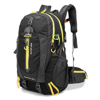 男女用 40Lバックパック 登山バックパック 男性女性 防水旅行 ハイキングラップ トップデイパック トレッキング登山リュックサック(kk04087Black)