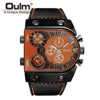 腕時計  メンズ  クオーツ  レザーバンド アナログ Oulm オレンジ(kk04023)