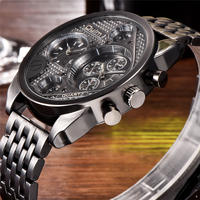 Oulm メンズ 腕時計 ビッグフェイス クオーツ 2タイムゾーン 通勤 通学 ウォッチ(kk04623)