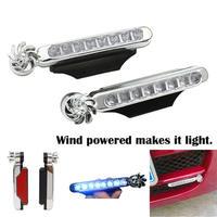 自動車 デイライト ヘッドランプ イルミネーション 風力発電 電源不要 エコ フロント バンパー 8LED(mk00271)