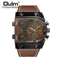 腕時計  メンズ  クオーツ  レザーバンド アナログ Oulm   ブラウン (kk04010)