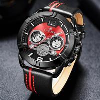NAVIFORCE メンズ 腕時計 ファッション スポーツ レザー クォーツ 男性用 防水 時計 レロジオ(kk04518)