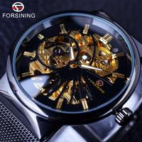 Forsining メンズ 腕時計 スケルトン ファッション ニュートラル デザイン カジュアル 通勤 通学 ウォッチ(kk04616)