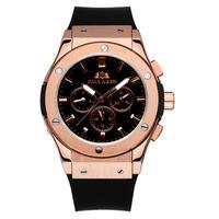 PAULAREIS クロノグラフ メカニカル 機械式 ジュネーブ 腕時計 レザーストラップ ラバーストラップ メンズ 送料無料 Rose Gold 2 Rubber(kk00874)