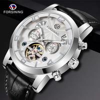 FORSINING メンズ 腕時計 クラシック 自動機械式時計 トゥールビヨン レザーストラップ 日付年月表示 ビジネス カジュアル ウォッチ(kk04569)