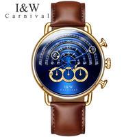 I&W CARNIVAL メンズ 腕時計 ユニークダイヤル クロノグラフ サファイヤクリスタル クォーツ 腕時計 ビジネス カジュアル(kk04526)