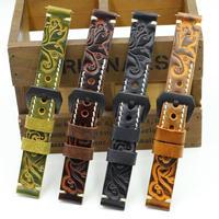 腕時計ベルト 本革レザーバンド ハンドメイド 彫刻 デザイン ブラック錠尾 18mm 20mm 22mm 24mm ブラック イエロー レッド オレンジ (kk03907)