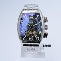 メンズ腕時計 Caseno トップブランド高級トゥールビヨン スケルトン自動機械式時計 メンズ腕時計 ミリタリーステンレス(kk03716)