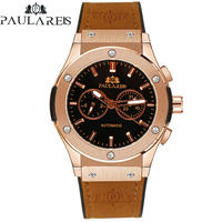 PAULAREIS クロノグラフ メカニカル 機械式 ジュネーブ 腕時計 レザーストラップ ラバーストラップ メンズ 送料無料 Rose Gold 1 Leather(kk00871)
