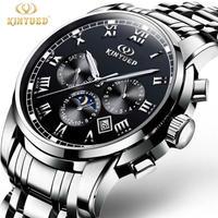 KINYUED メンズ 腕時計 ウォッチ 自動巻き 機械式時計 ムーンフェイズ カレンダー 発光 男性用 ラグジュアリー カジュアル ファッション ビジネス(kk04664)
