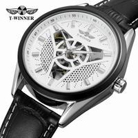 T-WINNER メンズ 腕時計 ウォッチ スケルトン 自動巻き 機械式 ラグジュアリー レザー 革 男性用 カジュアル ファッション ビジネス(kk04647)