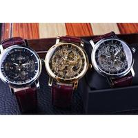 T-WINNER メンズ 腕時計 ウォッチ スケルトン 手巻き 機械式 時計 レザーベルト 男性用 カジュアル ビジネス ファッション (kk04527)