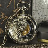TIEDAN 懐中時計 スチームパンク メンズ 男性 自動巻き 機械式 時計 スケルトン デザイナー レトロ アンティーク ヴィンテージ 自動懐中時計(kk04523)