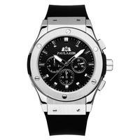 PAULAREIS クロノグラフ メカニカル 機械式 ジュネーブ 腕時計 レザーストラップ ラバーストラップ メンズ 送料無料 Silver 2(kk00878)