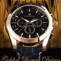 Forsining メンズ 腕時計 レトロ ファッション 本革 自動機械式 時計 通勤 通学 カジュアル ウォッチ(kk04613)