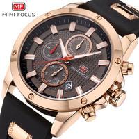 MINIFOCUS メンズ 腕時計 クール ラバーストラップ 防水 クロノグラフ クォーツ 時計 ウォッチ ビジネス カジュアル(kk04565)