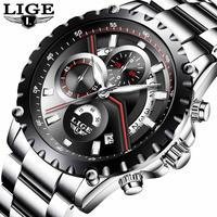 LIGE メンズ 腕時計 ウォッチ クオーツ スポーツ ステンレス 男性用 クロノグラフ 防水 カレンダー ビジネス時計 カジュアル ファッション レロジオ(kk04496)