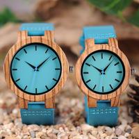 メンズ レディース腕時計 Zebrawood BOBO BIRDカップルズウォッチ ブルーレザーベルト クラフテッドジャパンムーブメントウォッチ(kk03726)