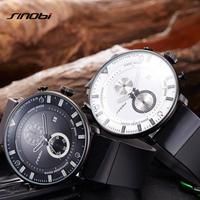 SINOBI メンズ 腕時計 ウォッチ スポーツウォッチ クォーツ クロノグラフ 防水 超薄型 ラバーバンド 男性用 レロジオ カジュアル ビジネス(kk04543)