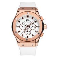 PAULAREIS クロノグラフ メカニカル 機械式 ジュネーブ 腕時計 レザーストラップ ラバーストラップ メンズ 送料無料 Rose Gold White(kk00875)
