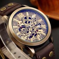 SHENHUA メンズ 腕時計 ウォッチ 自動巻き 機械式 スケルトン アンティーク ブロンズデザイン スポーツ ミリタリー 防水 男性用 ファッション レザーベルト(kk04706)