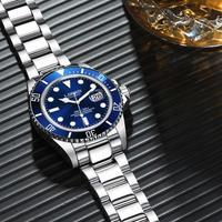 LOREO メンズ 腕時計 シルバー クロノグラフ 水深200m 防水 自動巻き ステンレススチール ウォッチ 通勤 通学(kk04580)